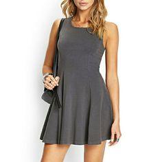 Sleeveless Gray Skater Dress Stretchy soft knit skater dress. Never worn. Forever 21 Dresses Mini