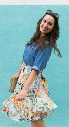 Anthropologie's Jardin Skirt with a Chambray Top // Spring Style