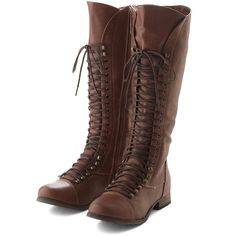 ModCloth Follow the Cedar Boot ($20) ❤ liked on Polyvore featuring shoes, boots, brown, boot - bootie, flat boot, brown mid calf boots, tall boots, tall brown boots, short brown boots and flat ankle boots