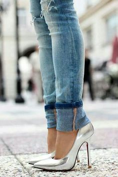 Silver heels and skinny jeans