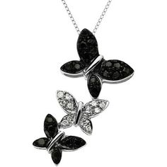 Lord & Taylor 14 Kt. White Gold Diamond Butterfly Pendant Necklace