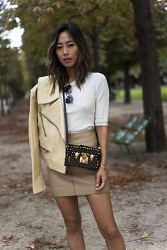 Le Fashion Blog Ribbed Sweater Neutral Leather Jacket Aviator Sunglasses Via Song Of Style