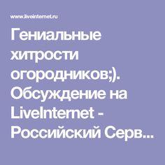Гениальные хитрости огородников;). Обсуждение на LiveInternet - Российский Сервис Онлайн-Дневников