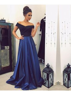 Long Blue Off-the-Shoulder Prom Formal Evening Party Dresses 996021298