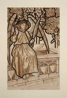 William Morris (1834‑1896) Angel of the Resurrection: Cartoon for Stained Glass, 1862, Crayon, graphite and watercolour on paper
