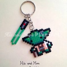 Star Wars, Yoda, keyring hama mini beads, perler beads, bead sprites, nabbi fuse melty beads by  His And Hers ~ PixelART