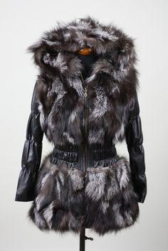 Silver Fox Fur Jacket Hood leather sleeves
