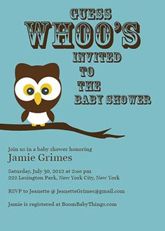 Customizable baby shower invitation template - Owl Baby Shower