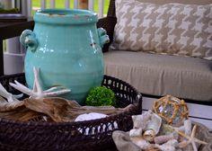 Aqua and neutral coastal Outdoor coffee table vignette