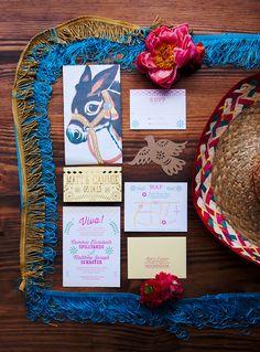 Mexican inspired #invitations - Nine Photography - http://ruffledblog.com/technicolor-cinco-de-mayo-wedding/