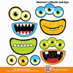 Monsters Mouth and Eyes Digital Clipart / Little Monster Party Decorations / Monsters Photobooth props/ Instant download via Etsy