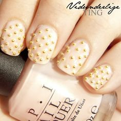 Gold Beads on Pink Nail Art