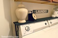 shelf above washer and dryer