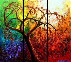The Tree Of Strength oil painting on canvas pictures decor 3 panel wall art $33.99