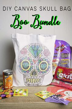 BOO it forward this season with a DIY Skull Canvas bag. Today I am sharing how to assemble this fun and festive Boo Bundle with items from @walmart   #BooItForward #ad