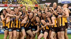 Hawthorn players celebrate winning the 2013 AFL Premiership.