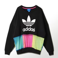 adidas - Rita Ora Logo Sweater Black / Solar Blue / Solar Pink / Solar Yellow S11802