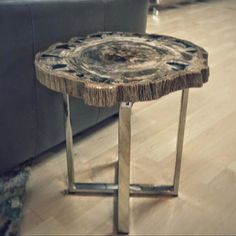 Petrified Wood Side Table #furniture #desmoines #interiordesign