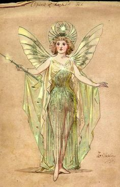 Costume design by Wilhelm (Charles William Pitcher, for Miss Vera Dudleigh as Sunshine (Spirit of Light) in the pantomime Dick Whittington as performed at Crystal Palace on December Wilhelm Pantomime Designs. Pantomime, Vintage Fairies, Vintage Art, Art Inspo, Elfen Fantasy, Art Et Illustration, Fairytale Art, Fairy Art, Art Design