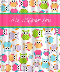 Personalized CUSTOM OWL Shower Curtain - Personalized - Multi color Polka Dot Owls. $78.00, via Etsy.