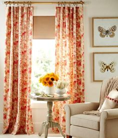 Graceful, large-scale blooms and leaves in two rich tonal palettes on pure cotton twill brightens any room. (Madelyn Lined Rod Pocket Curtains - Country Curtains)
