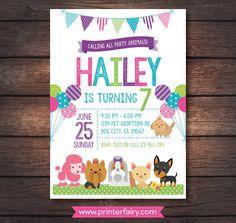 Puppy birthday party invitation dog birthday party invitation puppy invitation pet adoption party puppy birthday by printerfairy filmwisefo