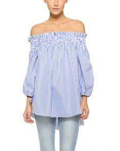 ZANZEA Damen Schulterfrei 3/4 Arm Freizeit Party Strand Lose Tops Shirt Bluse Streifen EU 48/Etikettgröße 2XL: Amazon.de: Bekleidung