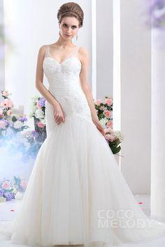 New Design Trumpet-Mermaid Straps Court Train Tulle Wedding Dress CWLT13069