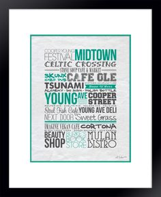 30 Places/streets from Memphis's Cooper Young neighborhood, compiled into one Typography art print.