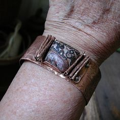 Etched Copper Cuff with Jasper Stone. Duffy Brown via Etsy.