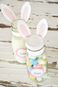 Easter bunny labels and gift jar idea!