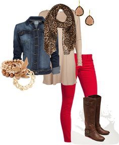 Neutral top with denim jacket red jeans and brown boots (the pop is in the leopard print scarf)