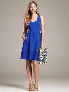 NWT Banana Republic Textured Fit and Flare Dress, Royal Blue, sz 6 Petite