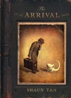 "Shaun Tan ""THE ARRIVAL""- A wordless graphic novel that depicts the displacement and awe to which immigrants respond to their surroundings."