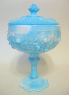 Glass Qualified Vintage Fenton Opalescent Compote Glass Dish Footed
