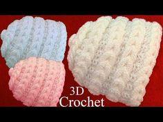 Bufanda a Crochet en punto 3D plumas pavo real o media luna tejido tallermanualperu - YouTube