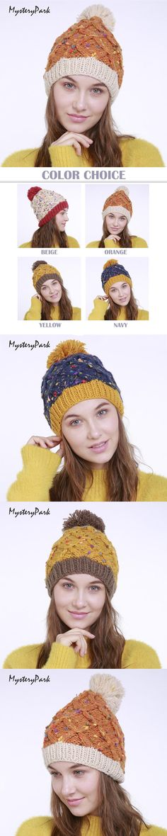 MysteryPark Winter Warm Handmade Braided Crochet Knitted Beanie Double Color Mosaic With Rope Hair Ball Fashion Hat