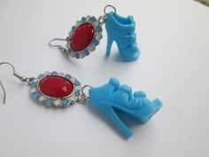 Blue  Barbie Shoes earrings with Fancy beads by ZoesBarbieShoes