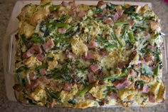 Ham And Rapini Strata | Magdiner Breakfast or brunch of the Champs.  This Italian themed dish will surly satisfy the hungriest bellies. #strata, #breakfast, #brunch, #ham, #rapini,