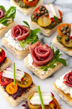Beautiful Spring Canapés – She Keeps a Lovely Home Fancy Party Appetizers, Easter Appetizers, Bite Size Appetizers, Cold Appetizers, Appetizer Plates, Appetizers For Party, Fancy Party Food, Italian Appetizers, Easy Canapes