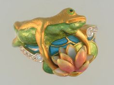 "Masriera ring 18K .07carat total weight 10-diamond enamel ""Frog on Lily Pad"""