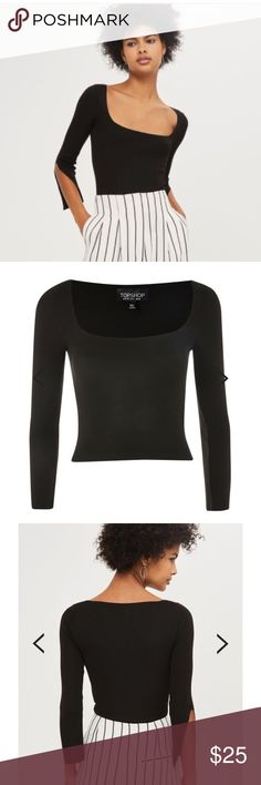 NWT TopShop ribbed square neck top. nwt Topshop Square Neckline fine gauge ribbed top with split sleeve. tagged as US 12, but fits more like an 8/10. ask for measurements!   ask any questions! Topshop Tops