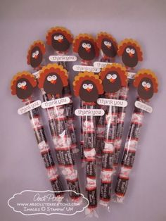 Thanksgiving Turkey candy favors - Tootsie Rolls - Andi Potler, Independent Stampin Up Demonstrator Arte Punch, Punch Art, Owl Punch, Holiday Treats, Holiday Fun, Holiday Gifts, Candy Crafts, Food Crafts, Paper Crafts