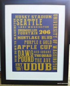 University of Washington Huskies 11 x 14 print