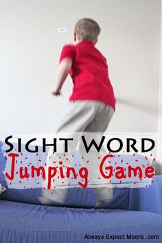 "Jump up against the wall outside a better for school and all in group can compete for ""prizes."" Sight Word Jumping Game"