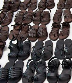 10199cb540f215 Brown   black leather sandals