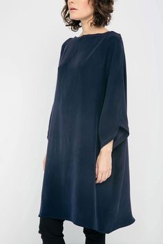 Artist Dress in Silk Crepe – Elizabeth Suzann Straight Trousers, Linen Tunic, Silk Crepe, Handmade Clothes, Different Fabrics, Cold Shoulder Dress, Shirts, Elegant, My Style