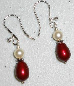 Bordeaux & Cream Swarovski Pearl Silver Dangle by mommazart, $12.00