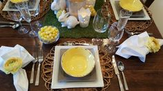Very happy Easter/Spring table setting with yellow and white.  Loved using the moss table runner!