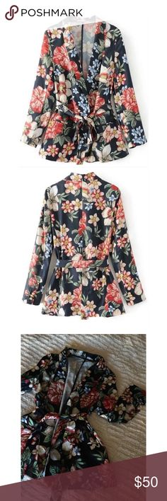 Silky Floral Blazer This blazer is very soft & silky to the touch! Great piece to pair down with jeans or up with slacks. Comes with self tie 😊🌸💕💕  Measurements- 1. Shoulder: 15in 2. Bust: 36in 3. Length: 27.5in 4. Sleeve length: 23in Jackets & Coats Blazers